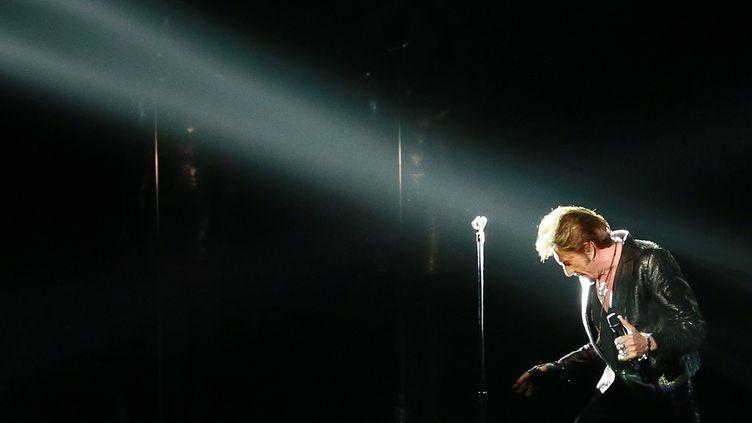 Johnny Hallyday, en concert à Moscou (Russie), le 31 octobre 2012. (ANTON DENISOV / RIA NOVOSTI / AFP)