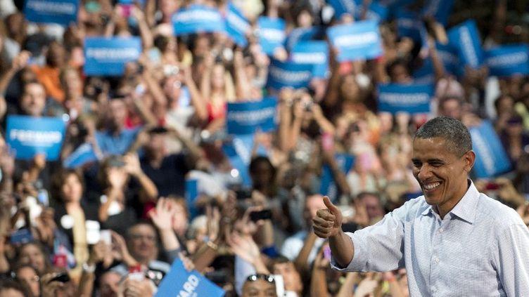Le président démocrate sortant, Barack Obama, arrive à un meeting à Palm Beach, en Floride (Etats-Unis), le 9 septembre 2012. (SAUL LOEB / AFP)