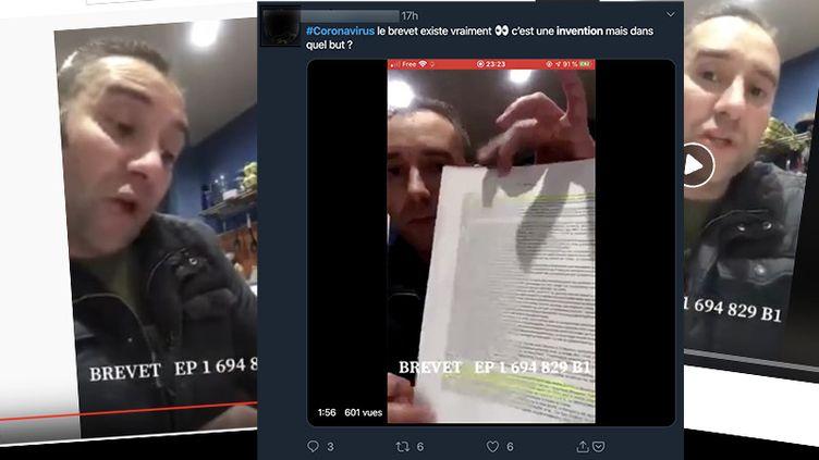 Des captures d'écran Facebook, Twitter et YouTube de la vidéo accusant l'Institut Pasteur d'être à l'origine du Coronavirus. (CAPTURE ECRAN)