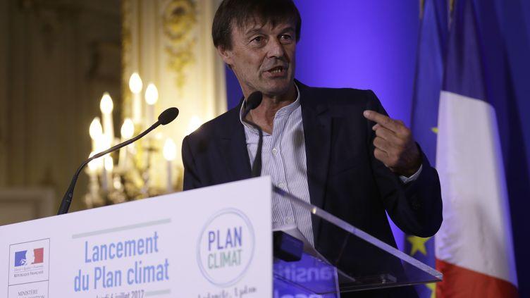 Nicolas Hulot présente son plan climat, au ministère de la Transition écologique et solidaire, le 6 juillet 2017. (THOMAS SAMSON / AFP)