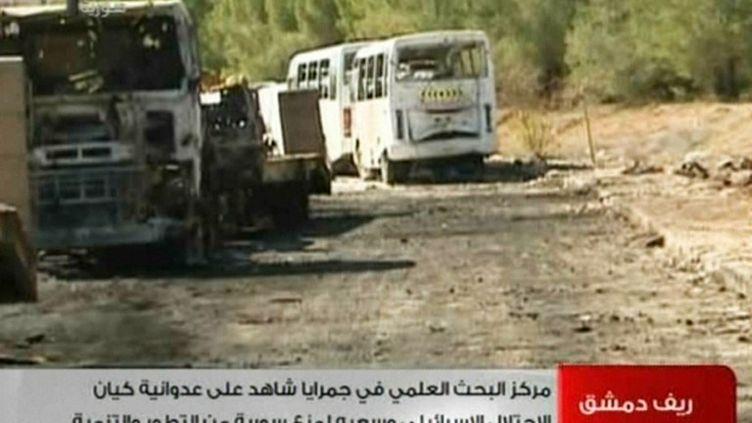 Le centre de recherche de Jamraye, près de Damas, en Syrie, filmé par la télévision officielle, le 2 février 2013. Il avait été visé par l'armée israélienne, le 29 janvier 2013. (SYRIAN TV / AFP)