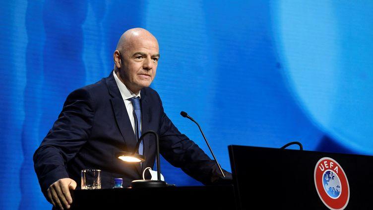 Le président de la FIFA, Gianni Infantino, lors du congrès annuel de l'UEFA, le 20 avril 2021. (RICHARD JUILLIART / UEFA)