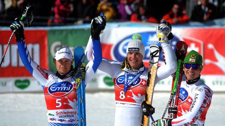 Premier podium en Super-G pour Pinturault et Hirscher qui entourent Innerhofer