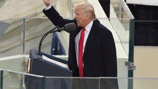 Le président Donald Trump prononce son discours d'investiture à Washington (Etats-Unis), le 20 janvier 2017. (TIMOTHY A. CLARY / AFP)