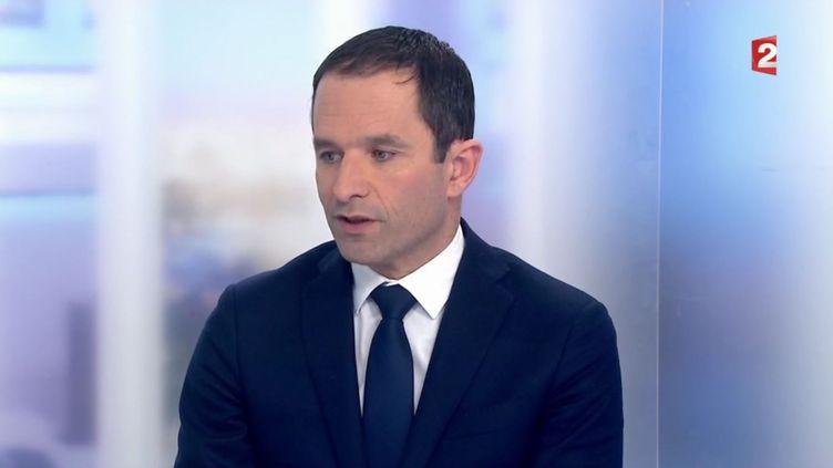 Benoit Hamon sur le plateau du journal de 20 heures de France 2,le 30 janvier 2017 (FRANCE 2)