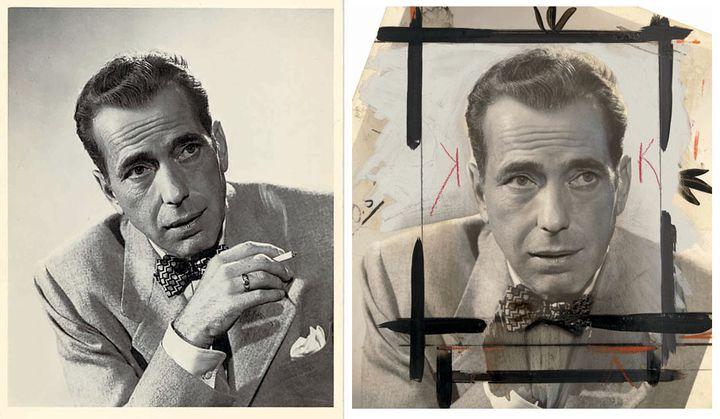 """Photo d'Humphrey Bogart pour le film """"Knock on Any Door"""" (""""Les Ruelles du malheur""""), produit en 1949. Recadrage à la gouache noire et au crayon orange, contour des yeux renforcé, arrière-plan recouvert de peinture grise, etc. La main tenant la cigarette et les volutes de fumée ont été effacées. (ROBERT WALLACE COBURN / COLUMBIA PICTURES)"""