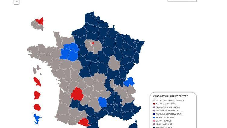 La carte du vote par départements du premier tour decette élection présidentielle révèle uneFrance coupée en deux. (FRANCEINFO)