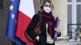 la ministre de la Transition écologique Barbara Pompili, à la sortie d'un réunion à l'Elysée, le 27 janvier 2021. (ALEXIS SCIARD / MAXPPP)