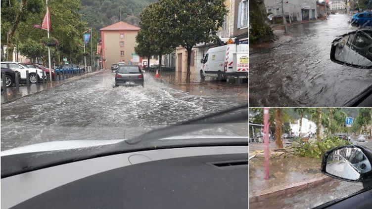 Le centre-ville de Foix (Ariège) a été touché par des inondations, le 8 juillet 2019. (MATTHIAS COP / METEO PYRENEES / TWITTER)