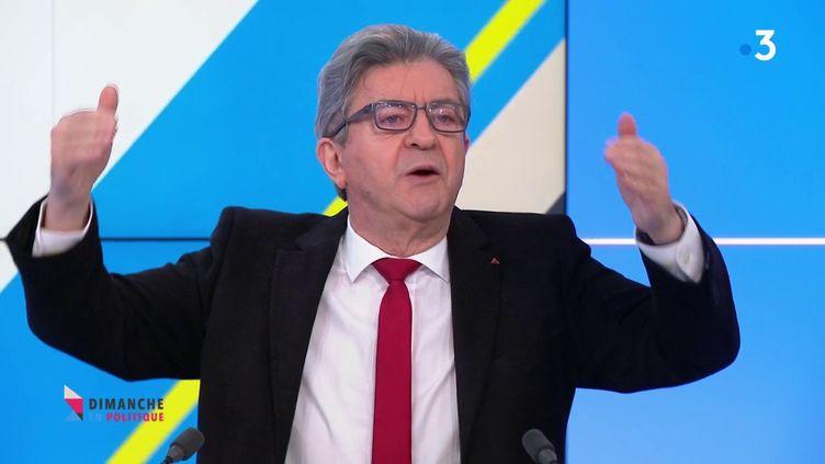 """Le député La France insoumise de Marseille Jean-Luc Mélenchon le 7 mars 2021 dans """"Dimanche en politique"""" sur France 3. (FRANCE 3)"""