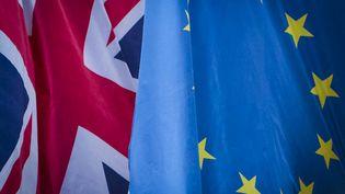 Les drapeaux britannique et européen à Manchester (Royaume-Uni), le 30 janvier 2018 (BENJAMIN FURST / HANS LUCAS)