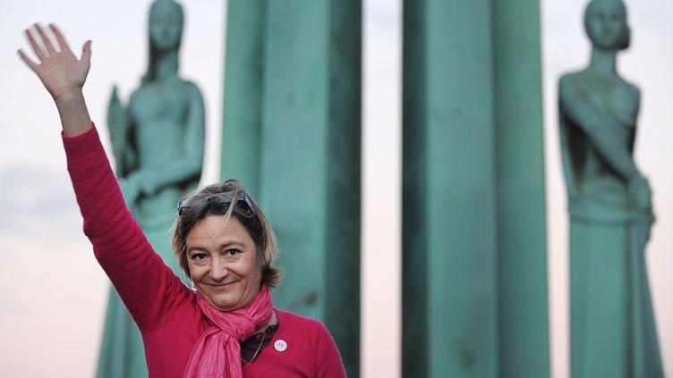 Ludovine de la Rochère, présidente de la Manif pour tous, lors d'une manifestation à Nantes (Loire-Atlantique), le 23 novembre 2013. (JEAN-SEBASTIEN EVRARD / AFP)