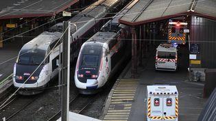 Des ambulances arrivent sur le quai de la gare de Strasbourg (Bas-Rhin), le 26 mars 2020. (FREDERICK FLORIN / AFP)