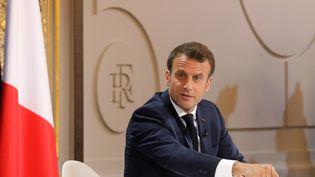 Le président de la République Emmanuel Macron lors d'une conférence de presse en conclusion du grand débat national, le 25 avril 2019 à l'Elysée. (LUDOVIC MARIN / AFP)
