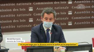 Le ministre de l'Intérieur Gérald Darmanin auditionné devant la commission des lois de l'Assemblée nationale, à Paris, le 30 novembre 2020. (FRANCE TELEVISIONS)
