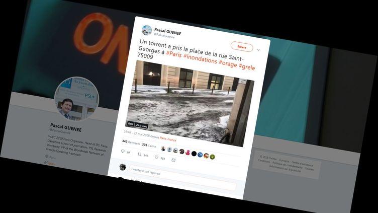 Capture d'écran d'une vidéo, postée sur Twitter, montrant une rue de Paris inondée après de violents orages, le 22 mai 2018. (PASCAL GUENEE  / TWITTER)