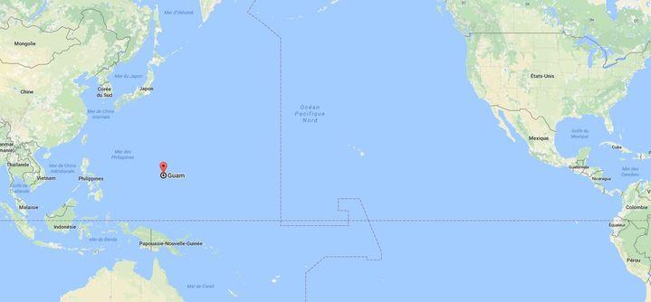 L'île de Guam, dans l'océan Pacifique, au large des Philippines. (GOOGLE MAPS)