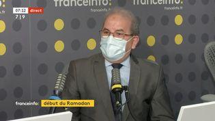 Mohammed Moussaoui, président du Conseil français du culte musulman, mardi 13 avril sur franceinfo (CAPTURE D'ECRAN/FRANCEINFO)