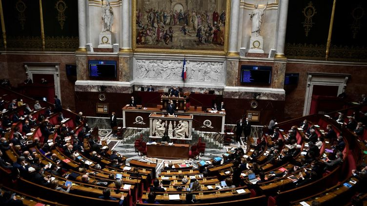 L'Hémicycle de l'Assemblée nationale lors d'un discours du Premier ministre, Jean Castex, le 13 avril 2021 à Paris. (STEPHANE DE SAKUTIN / AFP)