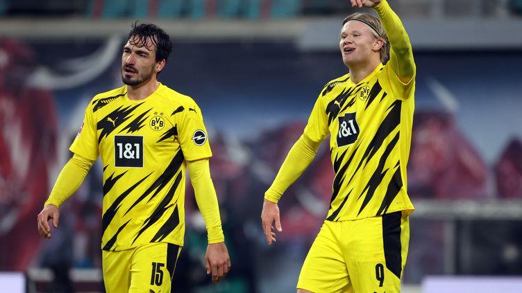 Haaland a inscrit un doublé contre Leipzig (JAN WOITAS / DPA)