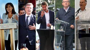 Photomontage des candidats à l'élection présidentielle de 2022 à gauche. (AFP, MAXPPP / FRANCEINFO)