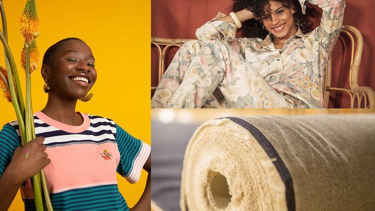 Créations T.shirt 2 Mai, chemise et pantalon pastel Tranzat, rouleau de denim Ecclo (Marilyne Jacques (pour Ecclo))