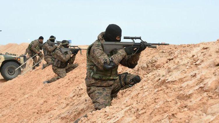 Les forces spéciales de l'armée tunisienne, lors d'un entraînement militaire à la frontière avec la Libye, le 6 février 2016 (AFP/Fethi Belaid)