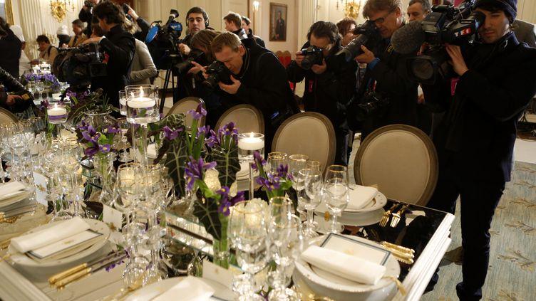 La tabledu dîner d'Etat qui doit avoir lieu mardi 11 février 2014,en l'honneur de François Hollande, à la Maison Blanche à Washington (Etats-Unis). (KEVIN LAMARQUE / REUTERS)