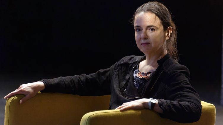 Amélie Nothomb le 6 juin 2021 à Paris, au festival littéraire Mots pour Mots (SADAKA EDMOND / SIPA)