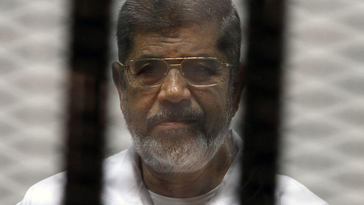 L'ancien président égyptien Mohamed Morsi, dans le box des accusés d'un tribunal du Caire, le 8 mai 2014. (TAREK EL-GABASS / AFP)