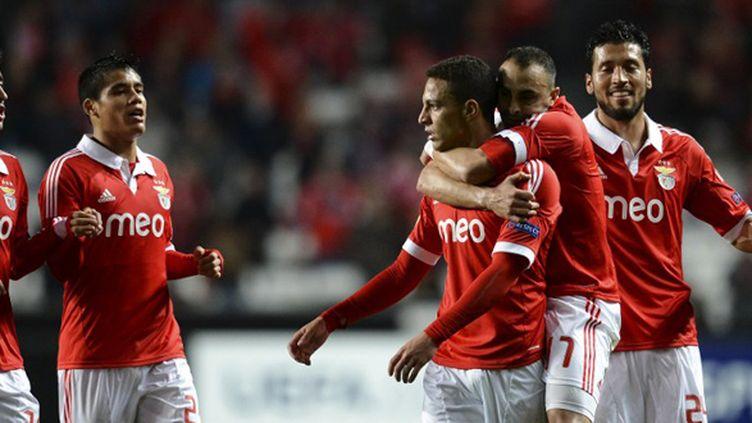 La joie des joeuurs de Benfica (PATRICIA DE MELO MOREIRA / AFP)
