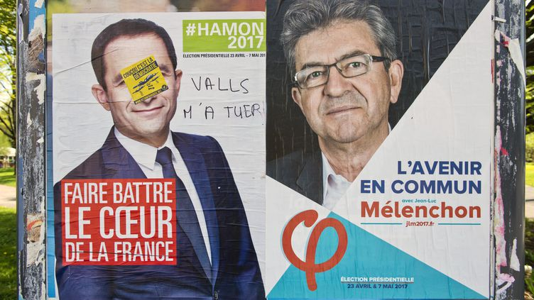 Affiches de la campagne de Benoît Hamon et Jean-Luc Mélenchon, à Grenoble (Isère), le 3 avril 2017. (FRANCOIS HENRY/REA / REA)
