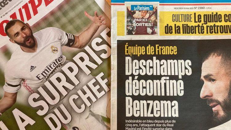 La Une des quotidiens nationaux français après le rappel de Karim Benzeman en équipe de France. (Franceinfo: sport)