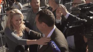 Marion Maréchal-Le Pen et Jean-Frédéric Poisson, le 16 octobre 2016 à la Manif pour tous, à Paris. (FRANCE 3)