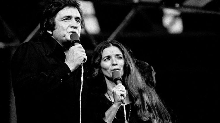 Johnny Cash avec June Carter Cash, sa femme, à Wembley (Londres) en septembre 1973  (Andre Csillag / Rex Fea / REX / SIPA)