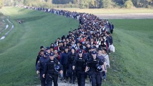 Les réfugiés sont escortés par la police, à Brezice, Slovénie, le 20 octobre 2015. (SRDJAN ZIVULOVIC / REUTERS)
