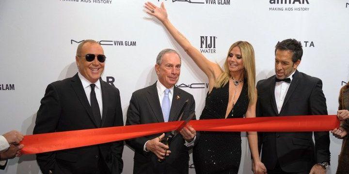 Michael.Bloomberg lance la fashion week new-yorkaise avec Michael Kors, Heidi Klum et Kenneth Cole, le 6 février 2013 à Manhattan  (Stan Honda/AFP)