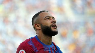 Le Barcelonais Memphis Depay lors du match contre Levante, dimanche 26 septembre 2021. (JOAN VALLS / NURPHOTO / AFP)