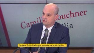 """Le ministre de l'Éducation nationale, Jean-Michel Blanquer était l'invité du """"8h30 franceinfo"""", le 19 janvier 2021. (FRANCEINFO / RADIO FRANCE)"""