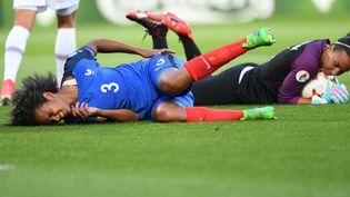 La capitaine de l'équipe de France, Wendie Renard, au sol, lors du match France-Islande de l'Euro 2017, à Tilbourg (Pays-Bas), le 18 juillet 2017. (CARMEN JASPERSEN / DPA / AFP)