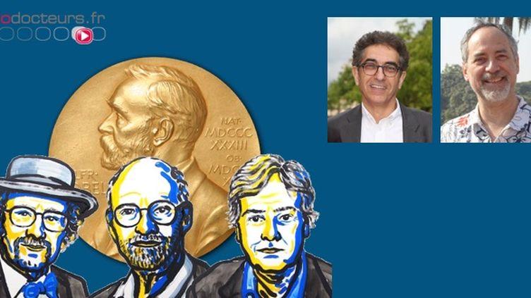 """En vignette, de gauche à droite : Serge Birman, responsable de l'équipe """"Gènes Circuits Rythmes et Neuropathologies"""" au laboratoire Plasticité du Cerveau, et André Klarsfeld, chercheur au même laboratoire. En bas : les lauréats du prix 2017."""