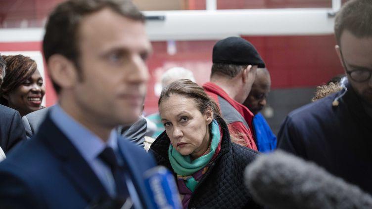 Laurence Haïm, lors d'un point presse d'Emmanuel Macron, le 5 avril 2017, à Noisy-le-Sec (Seine-Saint-Denis). (MAXPPP)