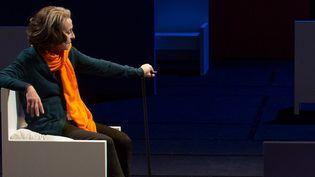 Francine Bergé dans le rôle de Liliane Bettencourt, photo de répétition  (Michel Cavalca)