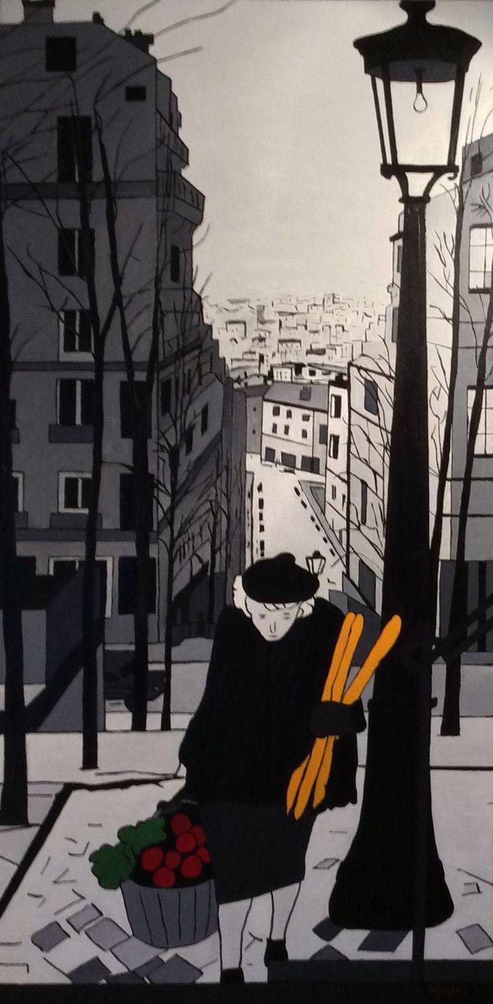 Vers Montmartre, huile sur toile  (Pierre Montillo )