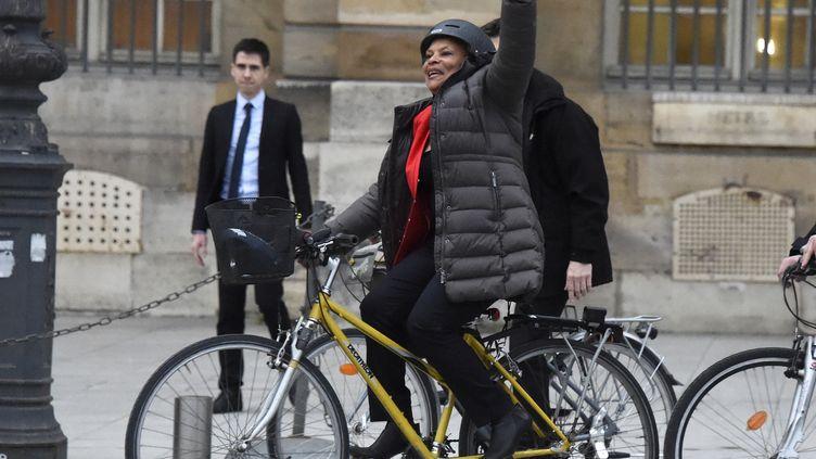 Chritiane Taubira, le 27 janvier 2016, lors de son départ du ministère de la Justice, place Vendôme à Paris. (DOMINIQUE FAGET / AFP)