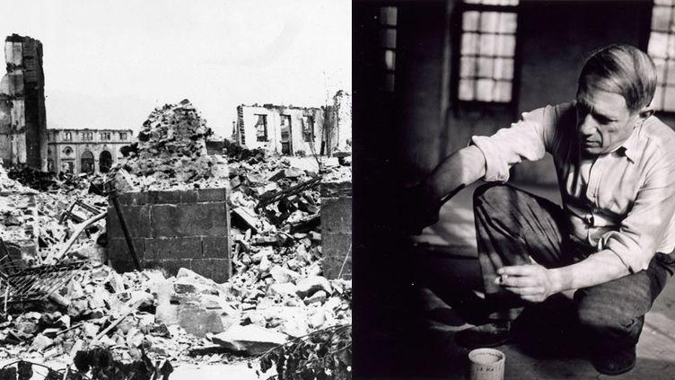 A gauche, les ruines de la ville basque de Gernika après le bombardement de 1937 - A droite, photo de Dora Maar : Picasso accroupi travaillant à Guernica, Paris, 1937, Musée national Picasso-Paris  (A gauche © photo AP / SIPA - A droite © RMN-‐Grand Palais / Franck Raux ©Sucession Picasso 2018)