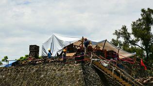 Exploration de la pyramide Teopanzolco à Cuernavaca, dans l'Etat de Morelos, 11 juillet 2018.  (RONALDO SCHEMIDT / AFP)