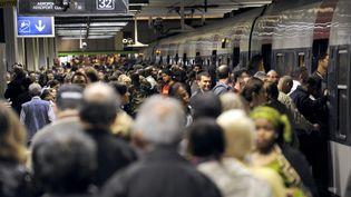 La foule devant un RER à quai gare du Nord à Paris, un jour de grève, le 21 juin 2011. Photo d'illustration. (BERTRAND GUAY / AFP)