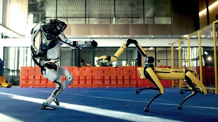 """Les robots """"Atlas"""" et """"Spot"""" développés par l'entreprise américaine Boston Dynamics, dans une vidéo de démonstration publiée en décembre 2020. (BOSTON DYNAMICS / YOUTUBE)"""