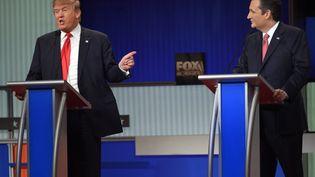 L'homme d'affaires Donald Trump lors du débat entre Républicains, à Charleston (Etats-Unis), le 14 janvier 2016. (TIMOTHY A. CLARY / AFP)